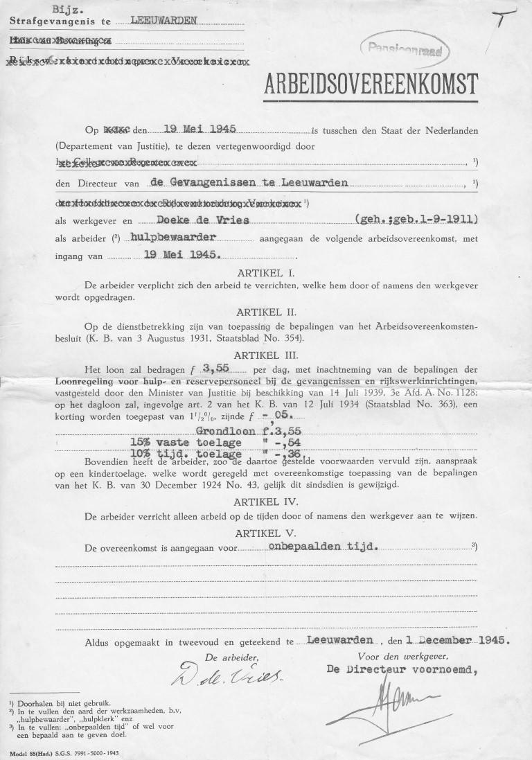 Arbeidsovereenkomst Doeke de Vries  Bijzondere Strafgevangenis Leeuwarden