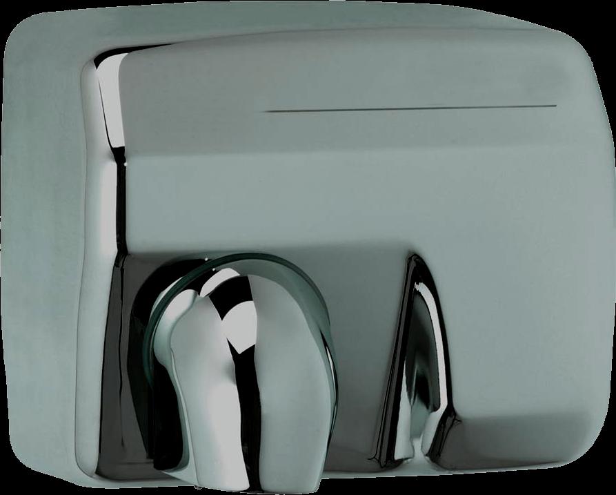 Secador de Manos Óptico Acero Inoxidable. Superficie: Brillante Satinada. Voltaje 220:240V/ 50 Hz o 110:127V/ 60 Hz. Velocidad de aire: 25 m/s. A prueba de agua.Peso 21.5  kg. Medias:  56 X 32 X 53 cm
