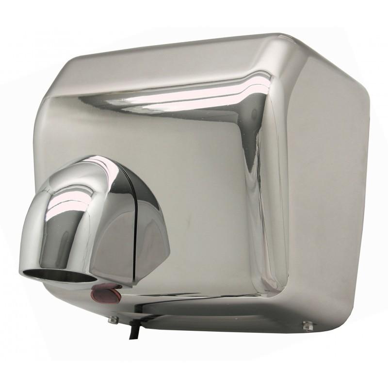 Secador de Manos Óptico Acero Inoxidable. Superficie: Brillante Pulida. Voltaje 220:240V/ 50 Hz o 110:127V/ 60 Hz. Velocidad de aire: 25 m/s. A prueba de agua.Peso 21.5  kg. Medias:  56 X 32 X 53 cm