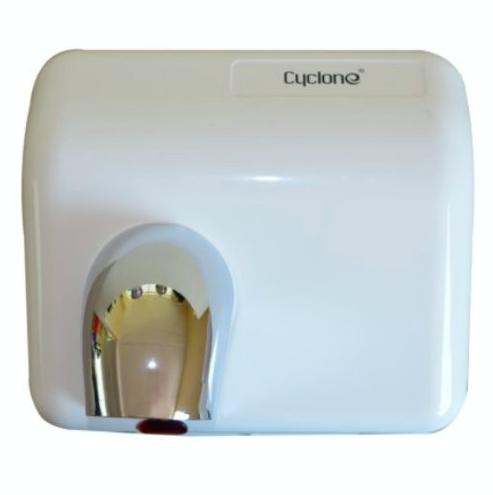 Secador de Manos Óptico Blanco. Voltaje 220:240V/ 50 Hz o 110:127V/ 60 Hz. Velocidad de aire: 25 m/s. A prueba de agua. Material ABS. Peso 29 kg. Medias:  62 X 56 X 53.5 cm