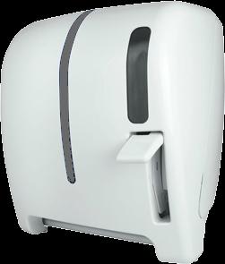 """Despachador / dispensador de toalla en rollo palanca AG32000 Color: Blanco con aplique transparente Dimensiones en milímetros: Alto: 366 Largo: 307 Ancho: 265 Capacidad: 1 rollo de 8"""" / 20.3 cm Contenido por caja: 1 pieza"""