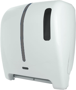 """Despachador / Dispensador de toalla en rollo automático Antibacterial  AG33000 Color: Blanco con aplique en azul Dimensiones en milímetros: Alto: 365 Largo: 310 Ancho: 250 Capacidad: 1 rollo de 8"""" / 20.3 cm Contenido por caja: 1 pieza"""