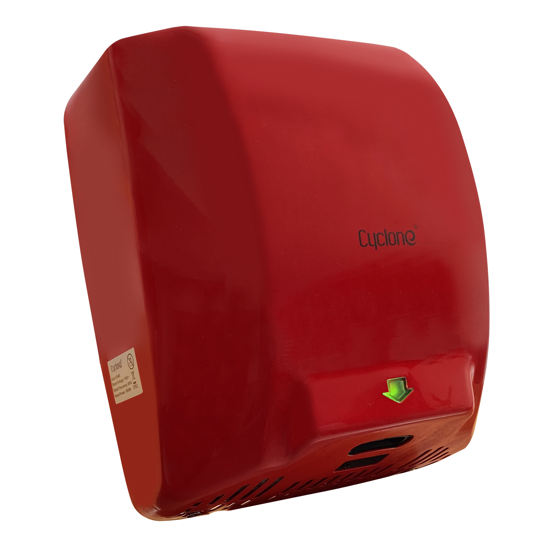 Secador de Manos Acero Inoxidable  Óptico Rojo. Potencia 110V. Velocidad de Aire 90m/s.  Tiempo de Secado  de 7 a 10segundos.  Peso 6 kg.  Medidas 300 X 222 X 730 mm