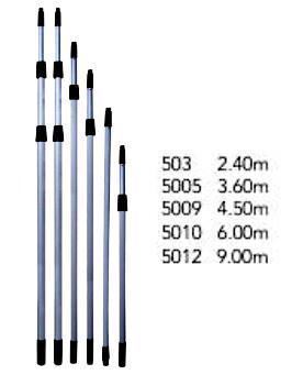 Extensión Telescópica de Aluminio. Medidas: 2.40 m / 3.6 m / 4.5 m / 6 m / 9 m. Wonderfultools