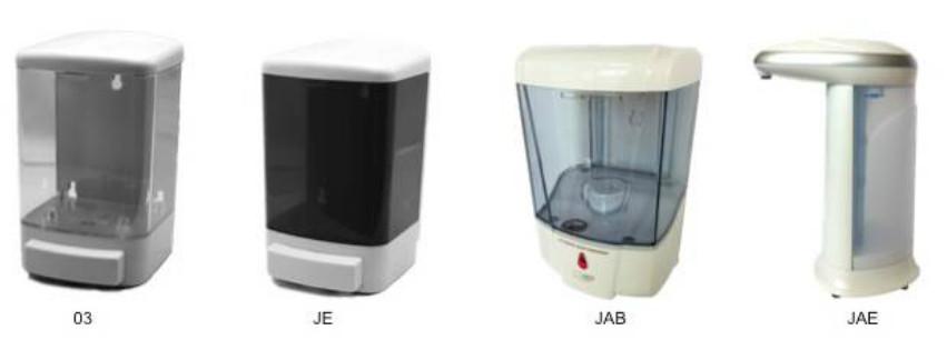 Jaboneras Manual Rellenables. Colores: Blanca, Transparente y Humo. Capacidad: 1 litros y  800 ml.