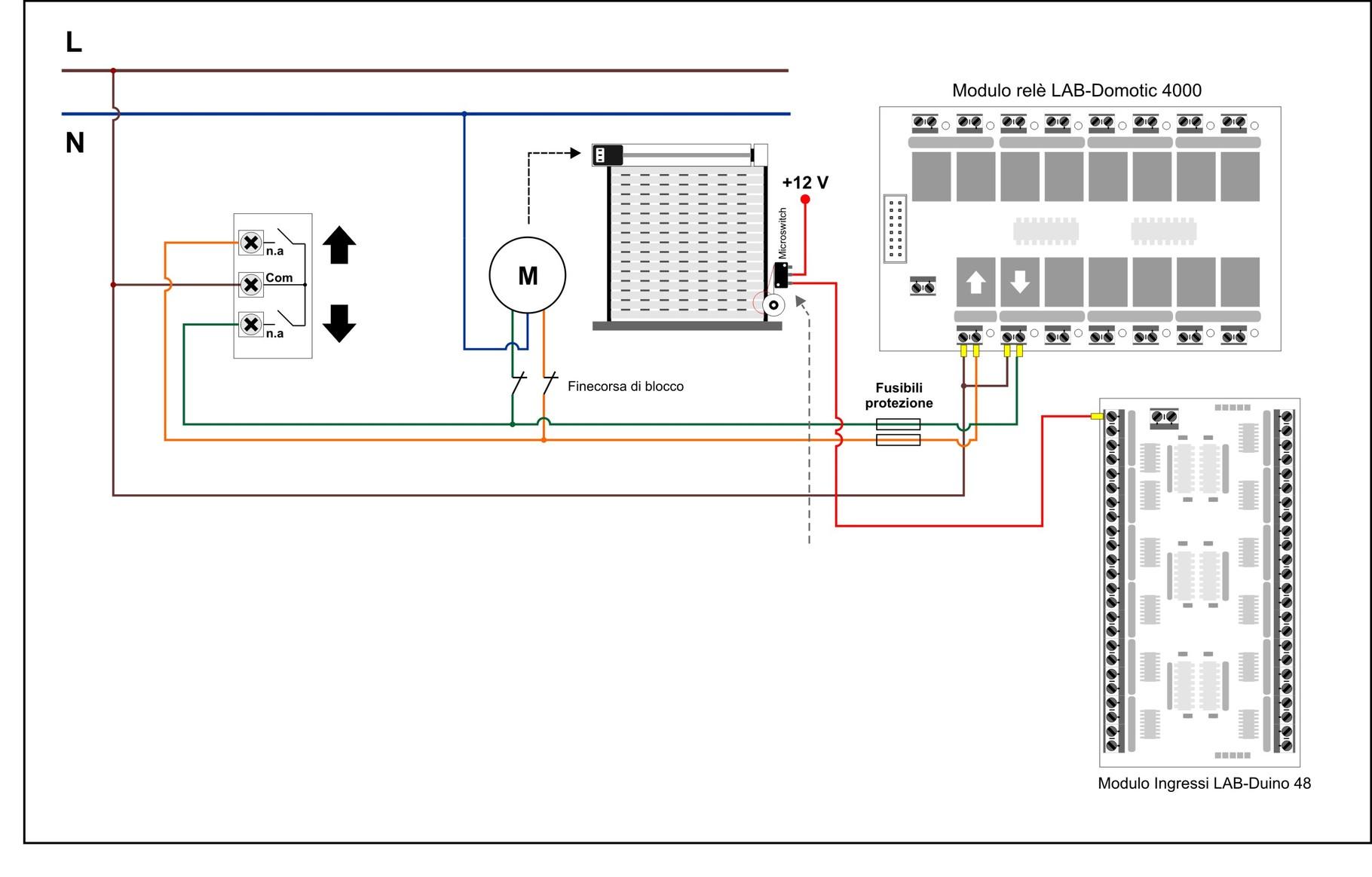 Schemi Elettrici Arduino : Schemi elettrici collegamento serrande labdomotic progetto
