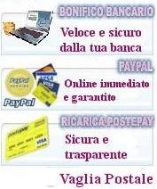 Metodo di pagamento , paypal, vaglia postale, alla consegna, postepay