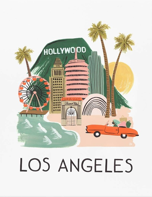 """Los Angeles"" par l'illustratrice Anna Bond - Rifle Paper chez Bird on The Wire, 30€"