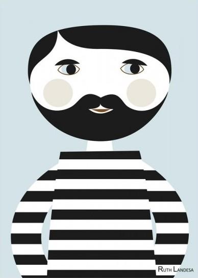 """Bearded Man"" par Ruth Landesa (artiste finlandaise) - Esprit Nordik, A4, 23€"