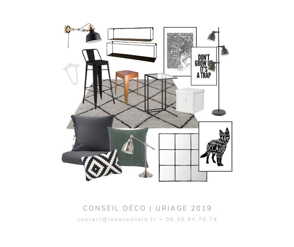 Coaching deco Chambre etudiante Uriage par la Deco d'Helo (2) - Bleu touareg et gris