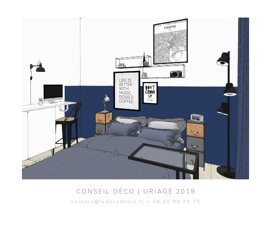 Coaching deco Chambre etudiante Uriage par la Deco d'Helo (1) -  Bleu touareg et gris