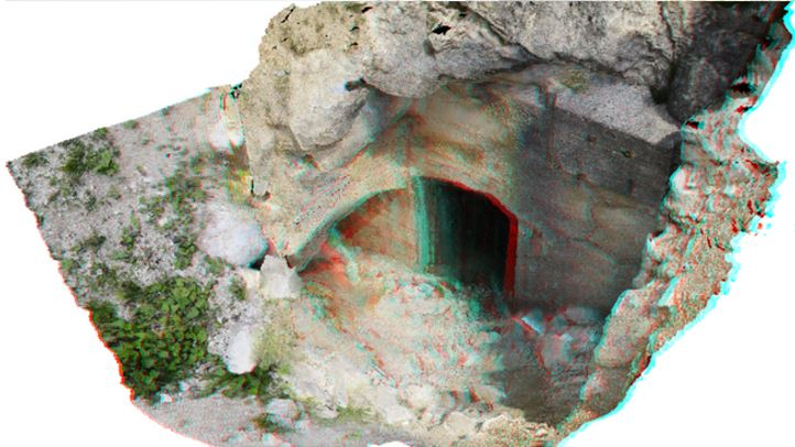 Bild: 3D Anaglyphe von Bunkereingang des Alpenkrieges Dolomiten UNESCO-Welterbe, 3D-Geofoto, Dr. Michael Mett
