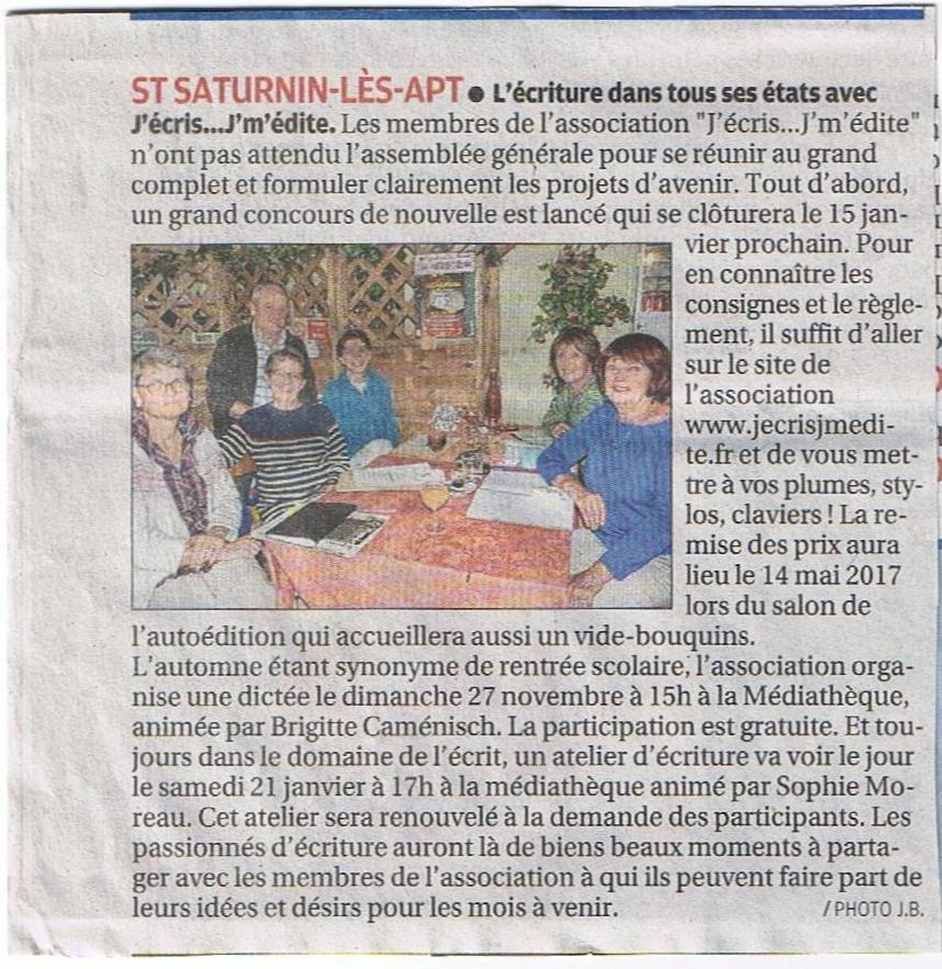 Article La Provence 14/10/2016