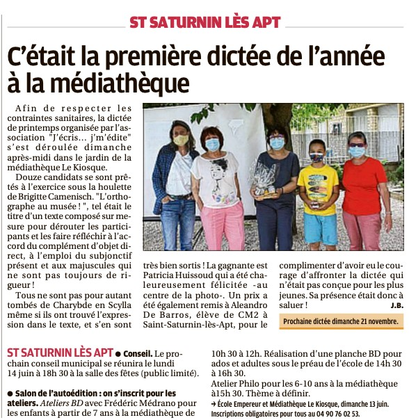 Article la Provence 10 Juin 2021