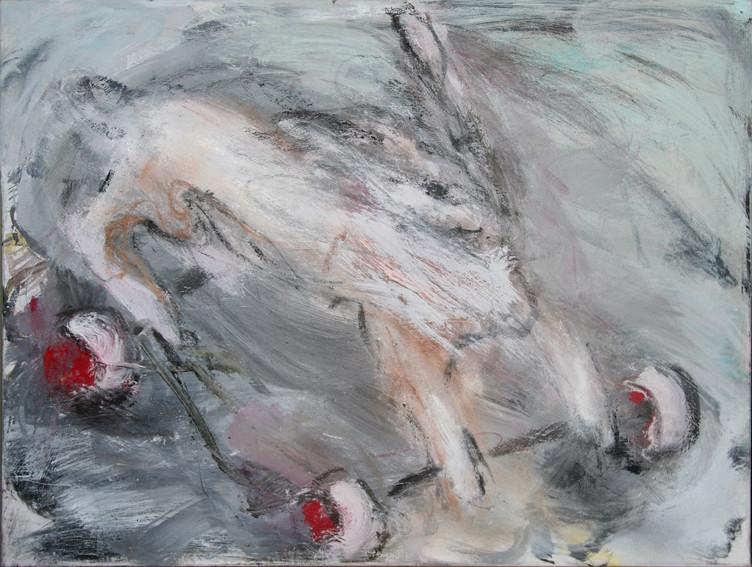 Hase mit roten Rädern | 50 x 70 cm | 2008