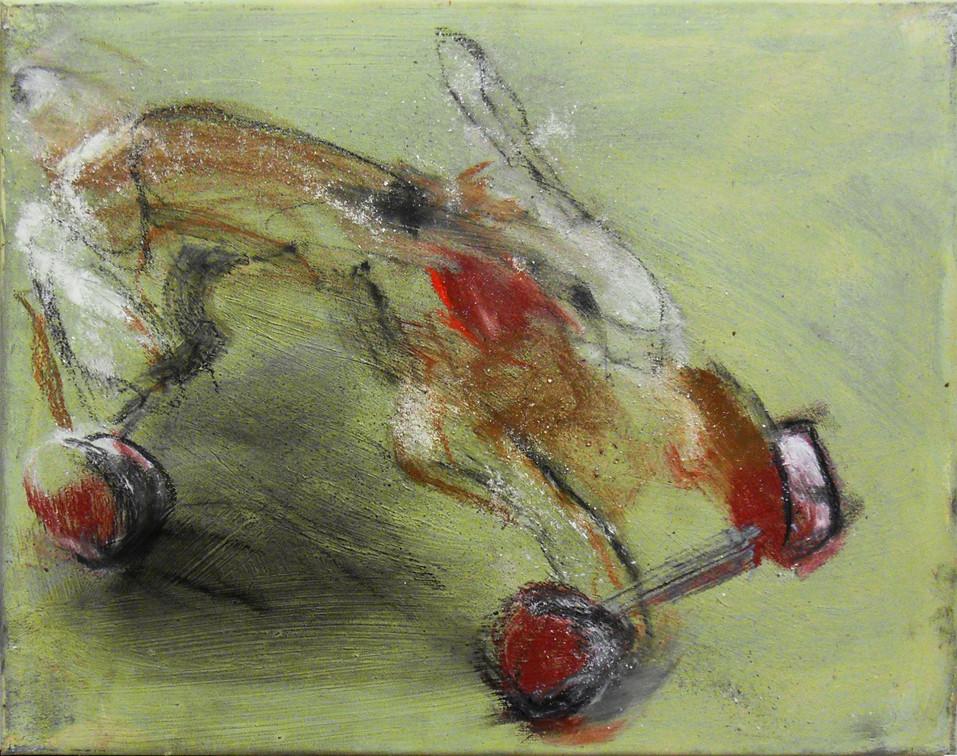 Hase auf Rädern | 40 x 50 cm | 2002