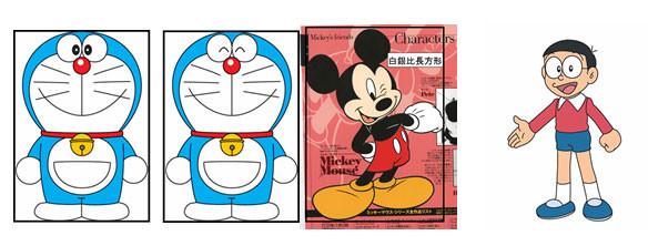 左からドラえもん、ミッキーマウス、のび太