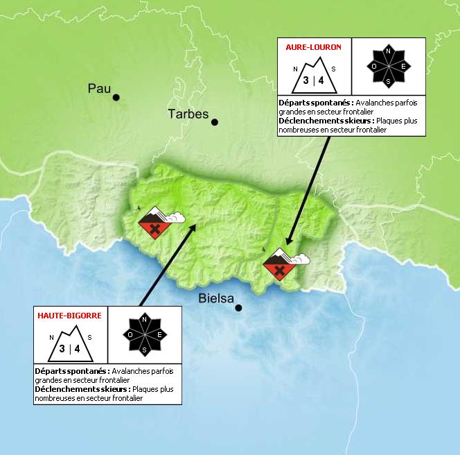 Bulletin de Risque d'Avalanche pour les Hautes-Pyrénées - © Météo France