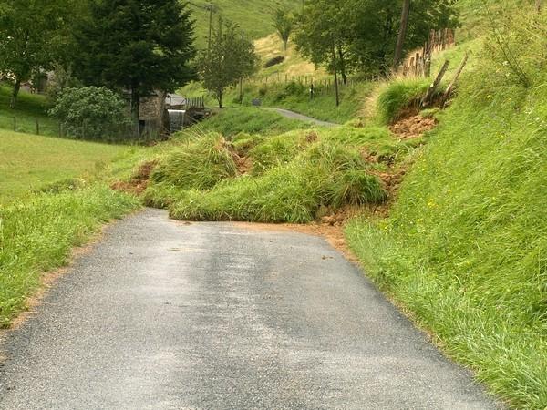 Route communale obstruée par un petit glissement de terrain. © Joel Dufour (Service de Restauration des Terrains en Montagne)