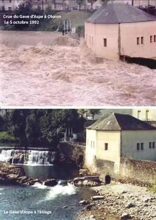 Le Gave d'Aspe à Oloron, en amont du pont Ste-Marie. Le débit du gave a été multiplié par 100 en quelques heures. Une des plus fortes crues du 20ème siècle. © C-PRIM 2010