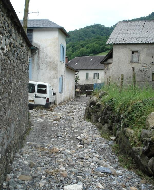 Le torrent de l' Arriubeigt a débordé à l'extrémité du village de Bielle. Une maison est particulièrement touchée avec plus d'un mètre d'eau et de boue. © Service de Restauration des Terrains en Montagne (RTM Tarbes)