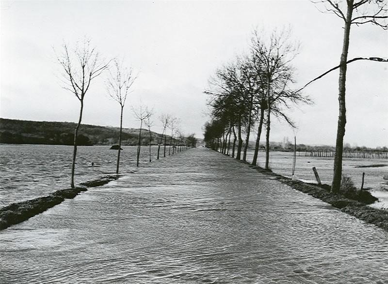 Débordement de l' Adour et de l'Echez. Route de Bordeaux submergée au nord de Maubourguet. © DDT 65