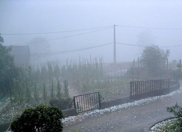 En plein orage de grêle, la visibilité est particulièrement réduite. © C-PRIM