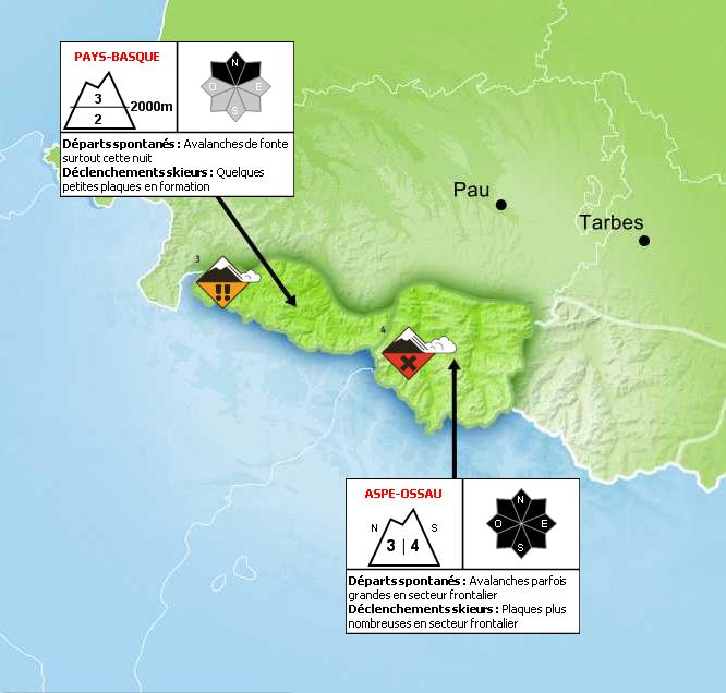 Bulletin de Risque d'Avalanche pour les Pyrénées-Atlantiques  - © Météo France