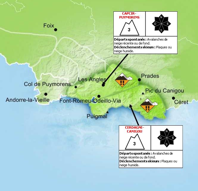 Bulletin de Risque d'Avalanche pour les Pyrénées-Orientales - © Météo France