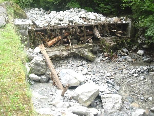 Torrent de la Sourde aux Eaux-Bonnes (64). Le seuil-peigne a parfaitement joué son rôle en piégeant arbres et blocs transportés par la dernière crue. © C-PRIM 2009