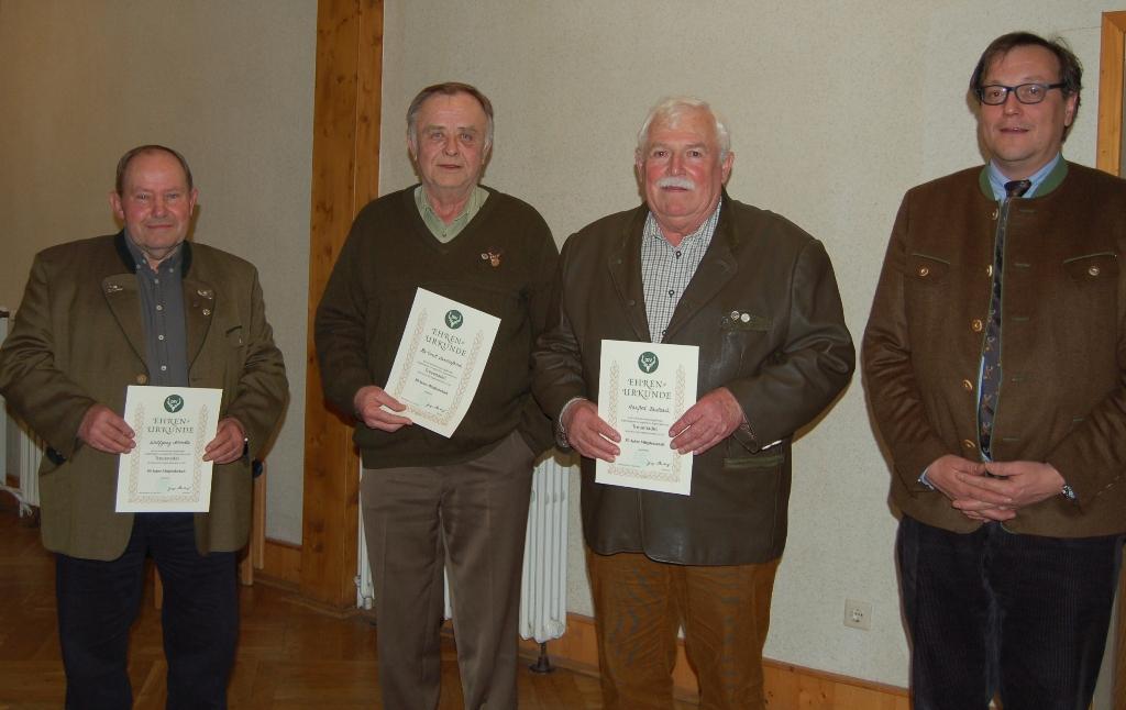 50 Jahre: Wolfgang Schmelz, Hartmut Landesfeind, Manfred Kaulbach. Nicht auf dem Bild: Werner Oelze, Wolfgang Treskow, Karl-Heinz Zimmermann