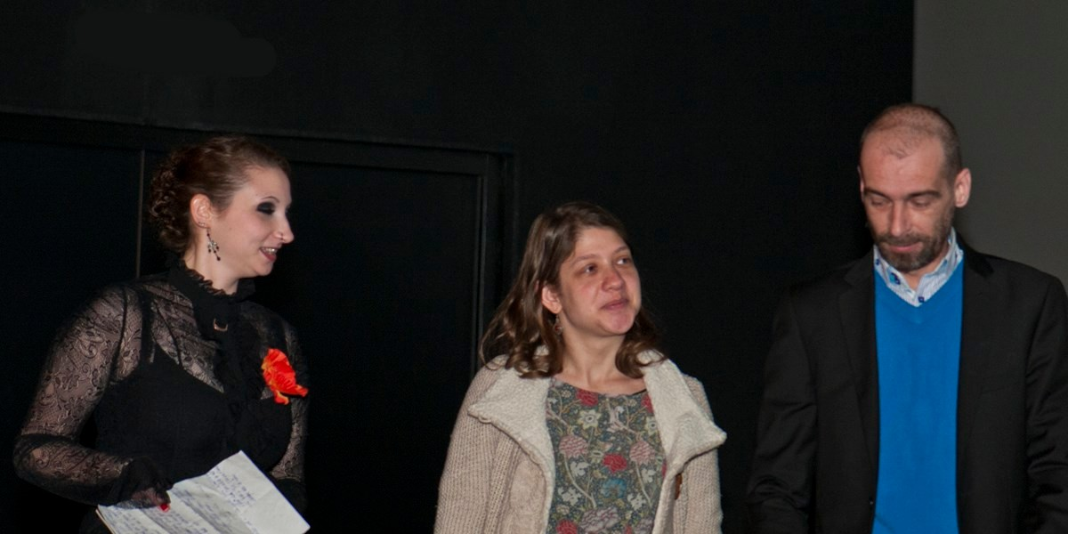 Delphine Coquelle, étudiante salariée, Service Archéologique Amiens Métropole, Eva Markovits, chargée de mission au festival international du Film d'Amiens, Laurent Hanquez, réalisateur monteur, président de l'association Imago, membres du jury – avec ev