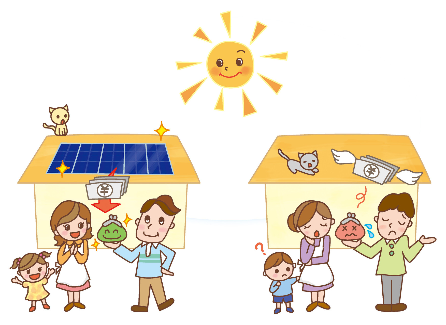 池田電工様 太陽光発電比較イラスト