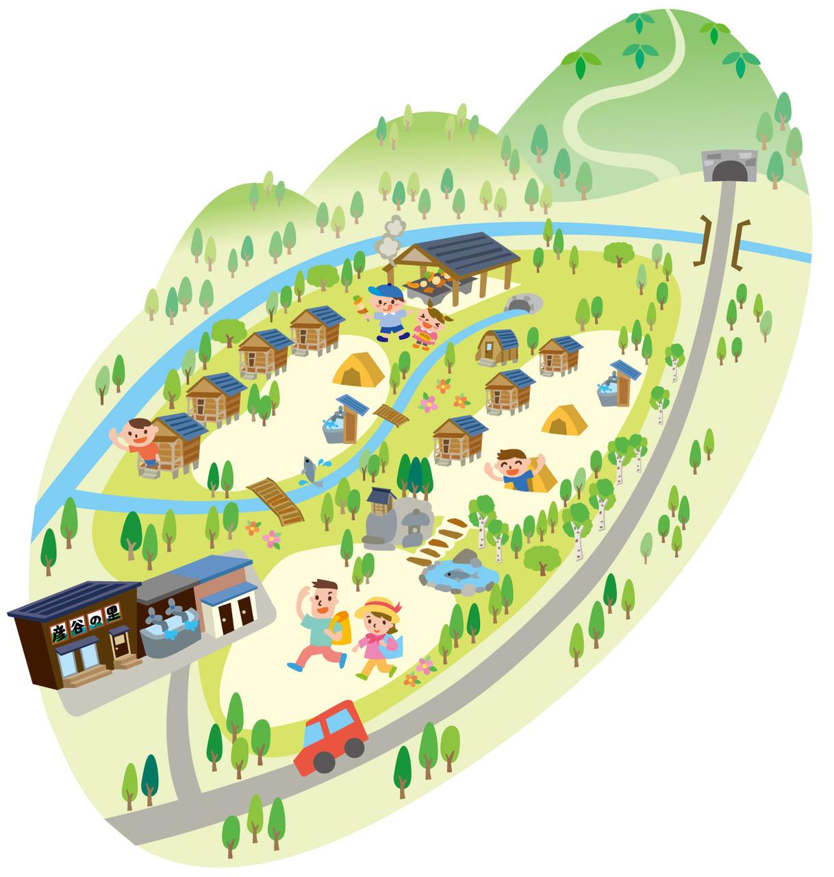彦谷の里キャンプ場様 周辺イラストマップ