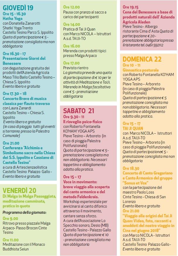 I 10 giorni del Benessere 2021, provincia di Trento, da giovedì 19 Agosto a domenica 22 Agosto