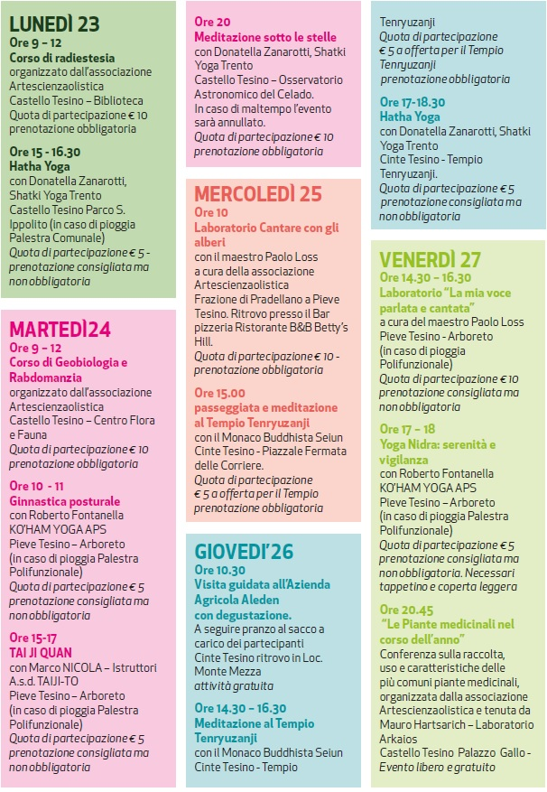 I 10 giorni del Benessere 2021, provincia di Trento, da Lunedì 23 Agosto a Venerdì 27 Agosto