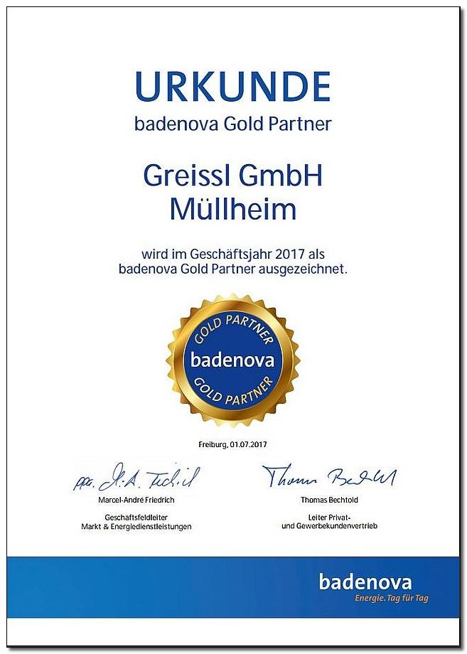 Zertifizierung Urkunde badenova Gold Partner für Greissl GmbH Müllheim