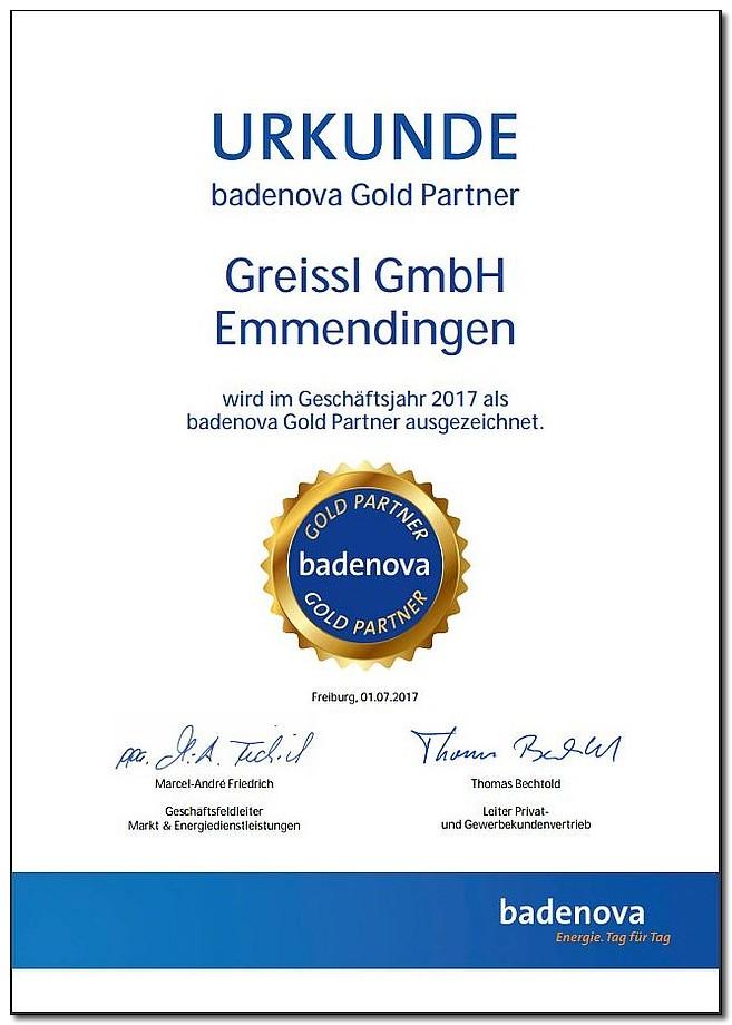 Zertifizierung Urkunde badenova Gold Partner für Greissl GmbH Emmendingen