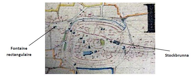 Plan cadastral de 1828. En jaune, points d'eau existants à l'époque.