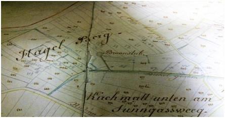 On remarque sur le plan cadastral de 1828 l'emplacement exact de la Brunnstub en plein Hagel Berg  et l'écoulement par le Dichelgraben vers le village.
