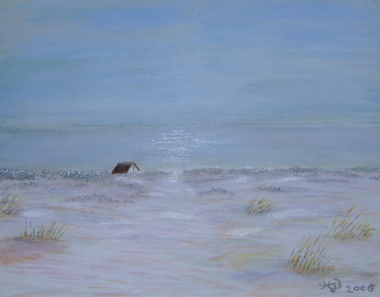 Haus am Meer, 2008, Acryl, 18 x 24 cm