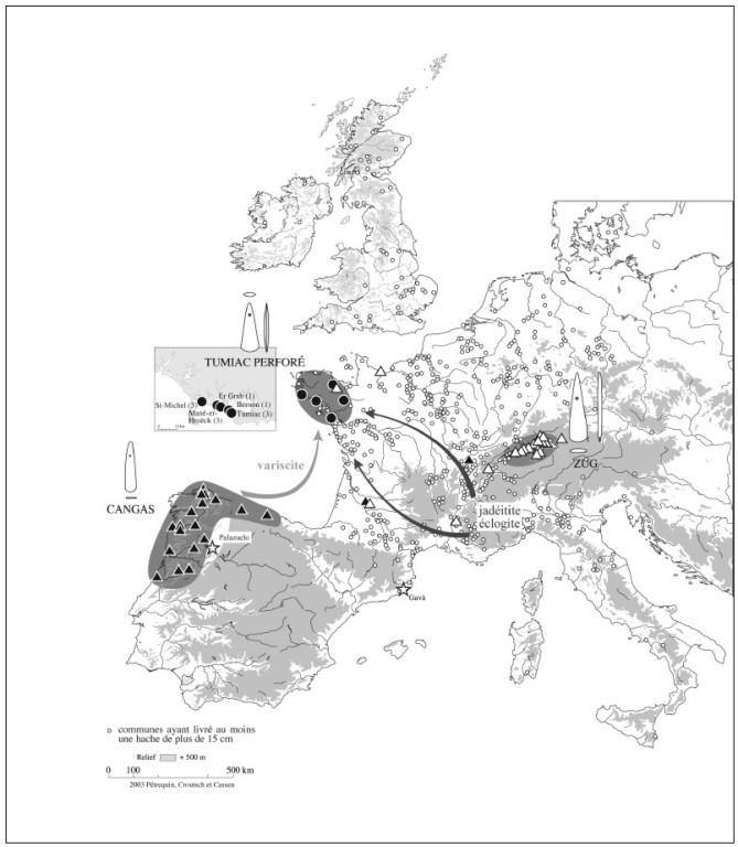 Distribución de las hachas con perforación proximal  (Petrequin et al., 2007)