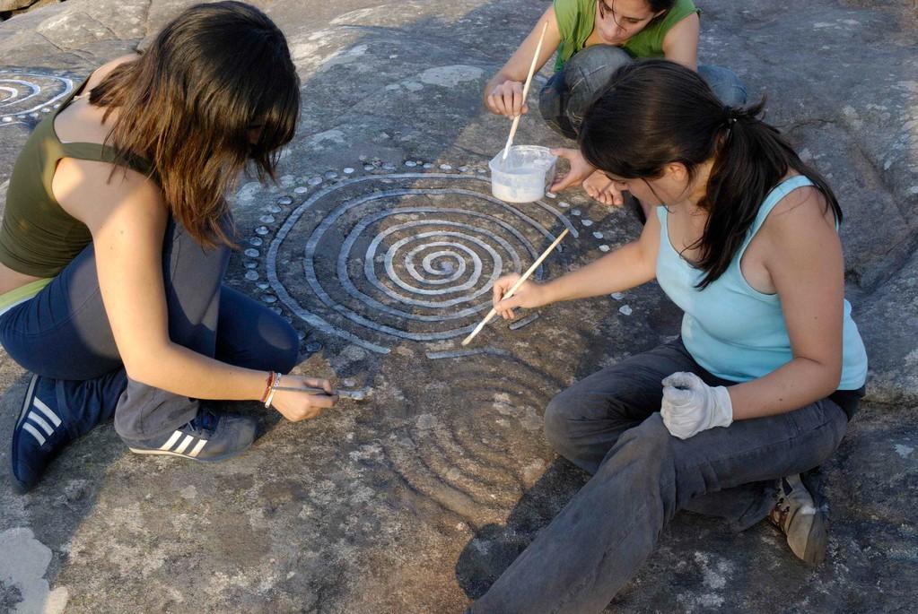Pintado del petroglifo de Laxe das Rodas