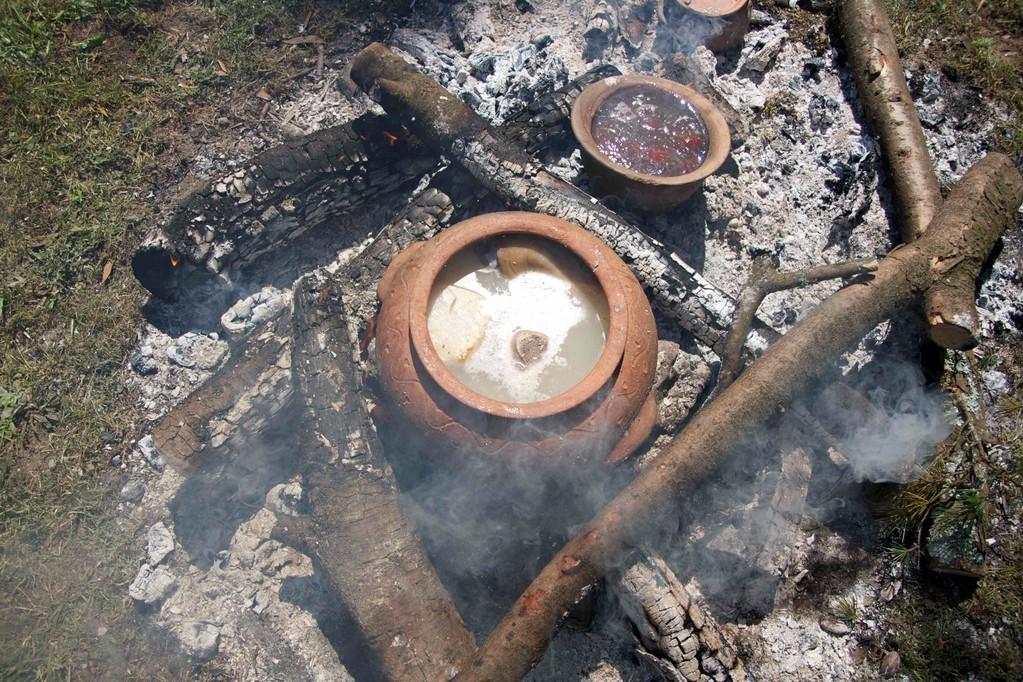 Cocción no lar da carne e as castañas