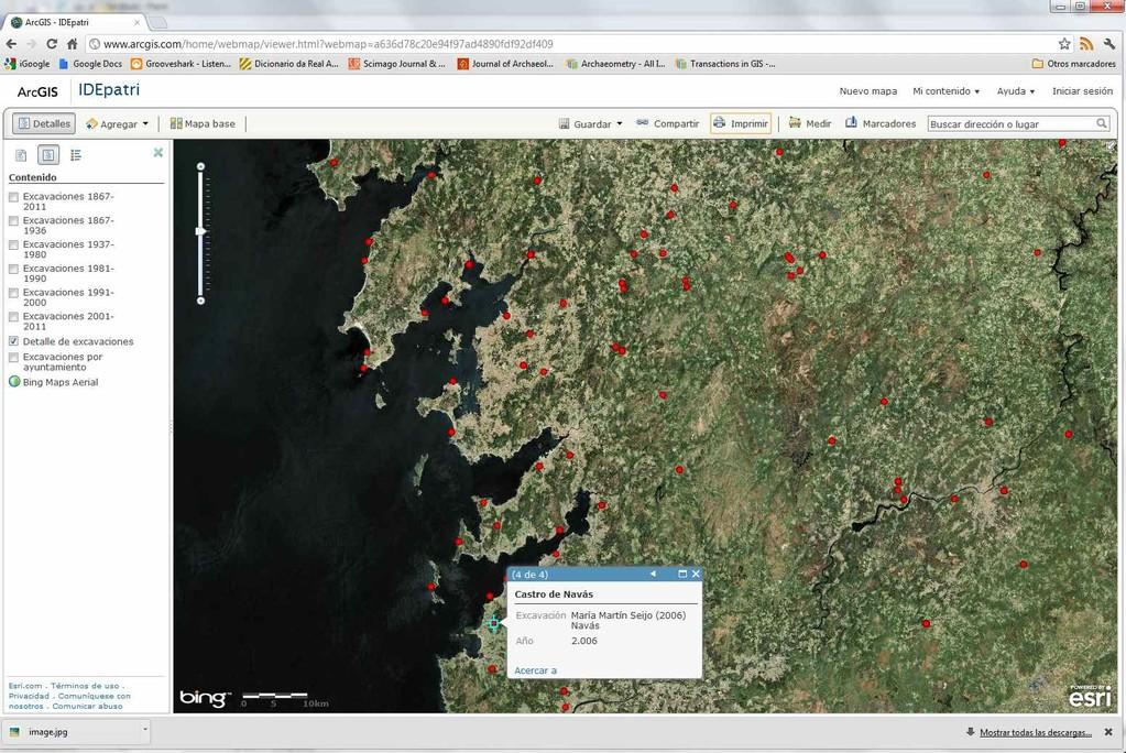 Mapa de yacimientos castrexos excavados