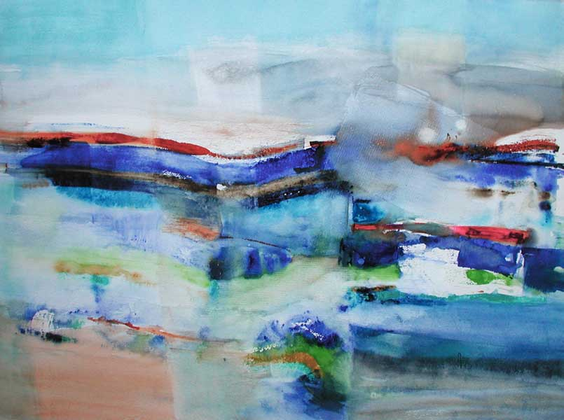 Trame et fragment bleu, 60x80cm, gesso et aquarelle, 2015