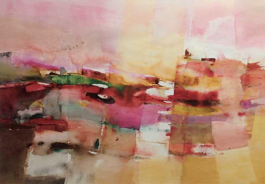Trame verticale : lac rose, 60x80cm, gesso et aquarelle, 2015