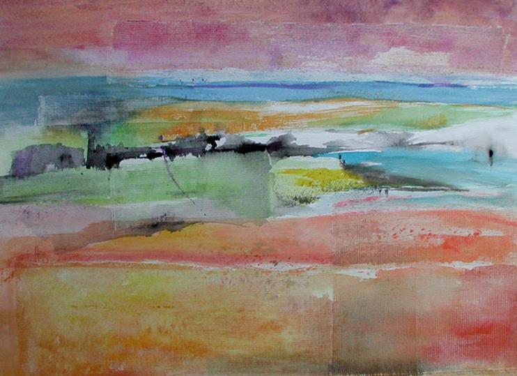 Trame n°3, 60x80cm, gesso et aquarelle, 2013