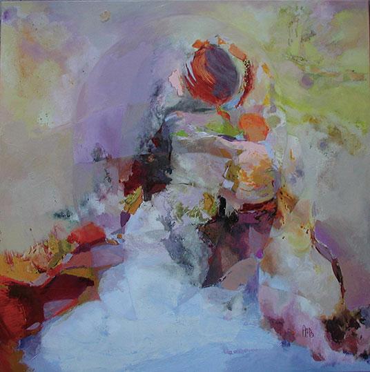 Voyageuse,  toile de 80x80cm, huile, 2012