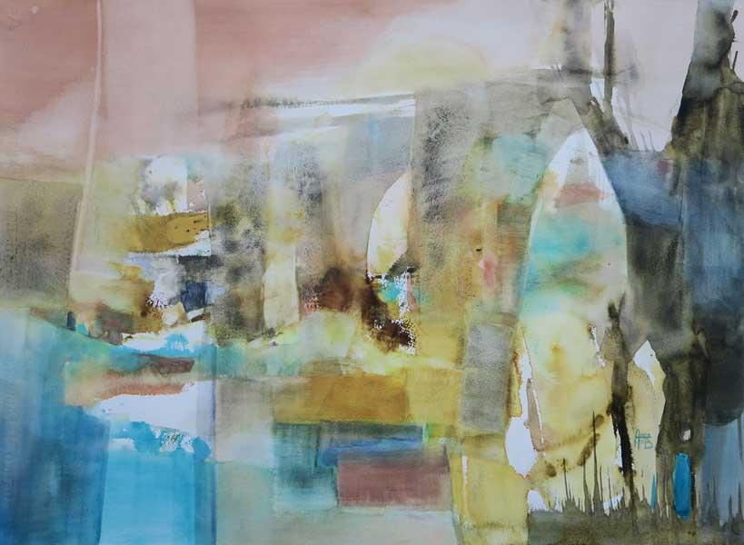 Trames et arches, 60x80cm, aquarelle, 2016